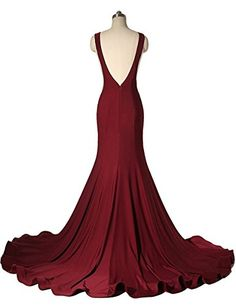 JudyBridal Women Sexy Backless Mermaid Long Evening Prom Dresses with Train US8 Burgundy