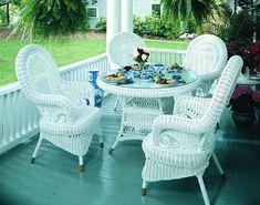 White Wicker Furniture – A Graceful Choice Victorian Wicker Dining Set of 5 White Wicker Furniture, Porch Furniture, Outdoor Furniture Sets, Outdoor Decor, Cane Furniture, Furniture Styles, Outdoor Rooms, Outdoor Dining, Wicker Dining Chairs