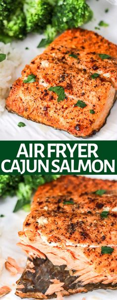 Making salmon is easy in the air fryer; It's done in less than 10 minutes! Air Fryer cajun salmon is juicy, flakey, healthy, and delicious! Best dinner! Salmon Recipes, Lunch Recipes, Seafood Recipes, Cooking Recipes, Seafood Dishes, Breakfast Recipes, Dessert Recipes, Desserts, Clean Eating Recipes For Dinner