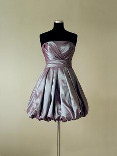 Balloon Style Skirt Strapless Taffeta Fabric Custom Made Short Prom Dress