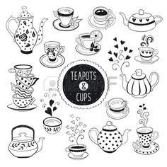 Hand drawn teapot and cup collection Doodle tea cups coffee cups and teapots isolated on white backg Stock Vector