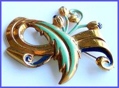 Vintage Art Nouveau Green & Blue Enamel Painted Gold Metal Brooch or Pin