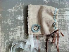 Vintage Linen Bonnet : Newborn Photo Prop - cream, photography prop. $39.00, via Etsy.
