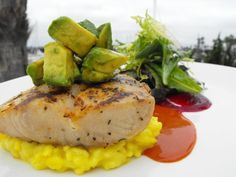 grilled cobia fillet with saffron risotto and blood orange carrot broth. Get Chef Steve Black's recipe