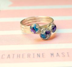 a custom silver leafing with blue and purple foil sterling silver ring #CatherineMasi