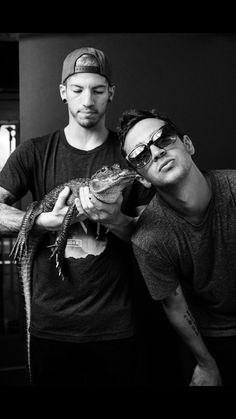 """Tyler's like """"Josh here hold the alligator while I stand in front and look cool."""" And Josh is like """"Tyler I don't think this is safe..."""" while staring at it to make sure it doesn't try to eat his fren"""