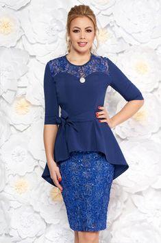 Rochie albastra de ocazie tip creion din dantela cu peplum accesorizata cu cordon Lace Skirt, Peplum, Plus Size, Interior, Skirts, Shopping, Fashion, Rhinestones, Moda