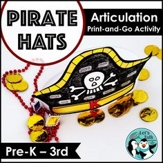 Pirate hats for speech therapy! Articulation, verbs, and blank hat to customize/ use for dramatic play! Talk Like A Pirate Day activity!