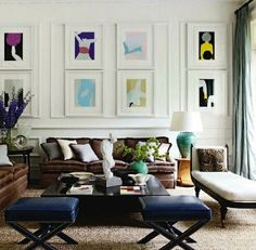 Photo Wall Gallery - The color really pops in the pictures because of the way they are framed.