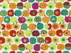 Katoen bedrukt, kleurrijke appels 3