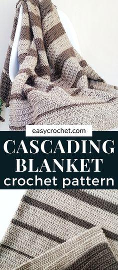 Crotchet Blanket, Striped Crochet Blanket, Crochet Baby Blanket Free Pattern, Crochet For Beginners Blanket, Afghan Crochet Patterns, Beginner Crochet Blankets, Crochet Throws, Crochet Borders, Crochet Afghans