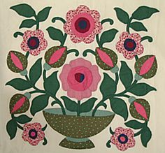 """Free Vintage Flower Vase block (as pdf) by Ruthann Zaroff.  Links to her blog, with info on """"What is a Baltimore Album Quilt?"""" Also a fascinating section """"The Journey"""" where she talks about the process of her interest in BAQ & her first BA quilt."""