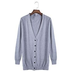 Casual Plunging Neck Long Sleeve Button Slim Knit Cardigan For Women