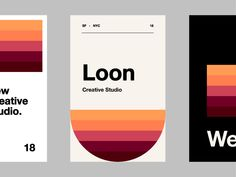 Loon studio designed by Kyle McDowell 🤘🏼. Connect with them on Dribbble; the global community for designers and creative professionals. Creative Studio, Branding, Graphic Design, Mobile Ui, Color Combinations, Badge, Label, Packaging, Logos