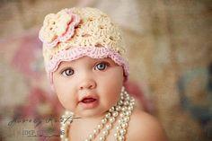 2-4T Crochet Beanie With Flower - cream, pastel pink