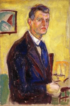 Self-Portrait against Yellow Background.by Edvard Munch