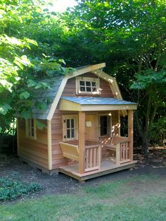 Build this gambrel-roof #playhouse for your #kids this #summer and give them hours of great #outdoor #playtime. #diy, #backyard, #carpentry