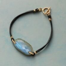 This lovely leather and labradorite bracelet by Dana Kellin mesmerizes with its bold, elegant simplicity