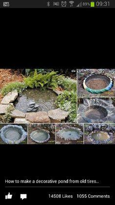 Old tyre garden pond