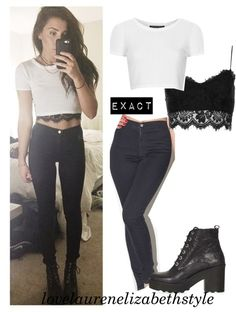 Top : Petite Rib Crop Tee (white) from Topshop Bralet : Petite Lace Bralet from Topshop Jeans : Easy Jean (black) from American Apparel Shoes : APPLES Chunky Lace Up Boots from Topshop