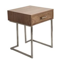 LumiSource Modern Roman End Table / Night Stand in Walnut , Side Tables - LumiSource, Minimal & Modern - 1