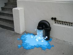 """""""Pixel Pour"""" street art installation created by Kelly Goeller Photo Humour, Use E Abuse, Amazing Street Art, Street Art Graffiti, Chalk Art, Art Plastique, Public Art, Urban Art, Installation Art"""