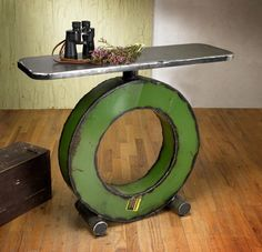 Entry table - reclaimed farm metal