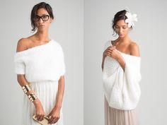 """Winterbräute, aufgepasst: Endlich gibt es eine stylisch-coole Kollektion mit Boleros, Capes und Cardigans für die Braut – aus Strick! marryandbride präsentiert edle, handgestrickte Oberteile aus zartem Mohair, Seide, reiner Wolle und Cashmere, die sich lässig zum Brautkleid kombinieren lassen. Die erste marryandbride Kollektion """"The Look of Love"""" besteht aus sieben handgestrickten Modellen, die sich durch..."""