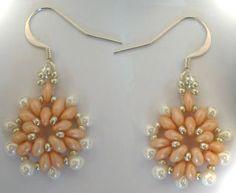 Kit boucles d'oreilles Victoria Crème -  perles super duo ou twin beads