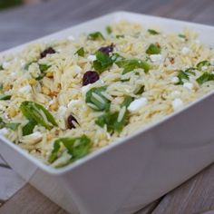 Summer orzo salad with pine nuts, goat cheese and dried cherries