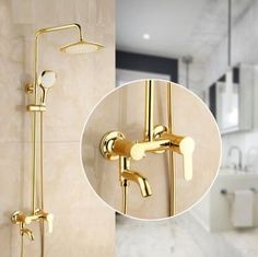 69.68$  Buy here - http://alihbq.worldwells.pw/go.php?t=32766454743 - 2 Style rainfall shower faucet set mixer, Bathroom wall mounted bath shower water tap, Brass shower faucet shower head gold