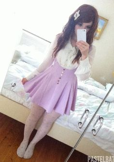 In love with the violet skirt! Japanese Fashion, Asian Fashion, Unique Fashion, Girl Fashion, Fashion Looks, Fashion Outfits, Fashion Design, Lolita Fashion, Pastel Goth Fashion