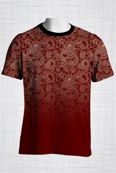 Plus Size Men's Clothing Deep red paisley print FF0474/2