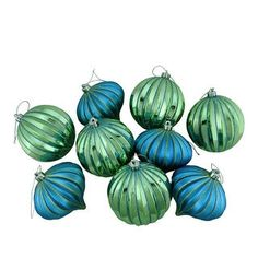 """9ct Peacock Blue & Green Glitter Striped Shatterproof Christmas Onion and Ball Ornaments 4"""" (100mm)"""
