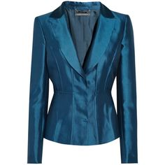 Alberta Ferretti Shantung silk-blend blazer ($498) ❤ liked on Polyvore featuring outerwear, jackets, blazers, blazer, coats, alberta ferretti, midnight blue, slim blazer, blue jackets and slim fit blazer