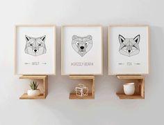 3 Geometric Animals Print Predator set Vector File, Predator, This Is Us, Place Card Holders, Simple, Frame, Prints, Animals, Etsy