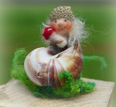 snail hpuse Gnome by FairyfeltbySiSo on Etsy