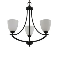 Hampton Bay 3-Light Bronze Chandelier with White Frosted Glass Shade-16657 - The Home Depot