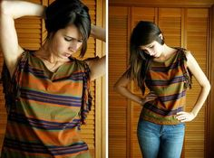DIY Clothes Refashion: DIY TShirt ReStyle - Fine and Feathered