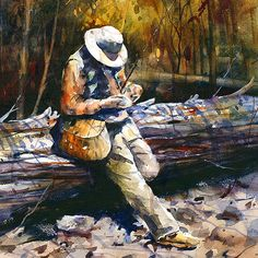 FLY FISHING Extra Large Watercolor Print by Dean Crouser