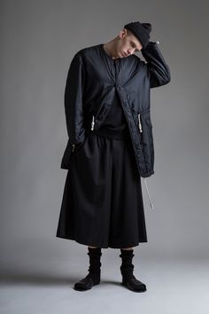 Vintage Men's Y's Yohji Yamamoto Coat and Wide Leg Shorts. Designer Clothing Dark Minimal Street Style Fashion