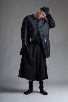 Vintage Men's Y's Yohji Yamamoto Coat and Wide Leg Shorts. Designer Clothing Dark Minimal Street Style Fashion