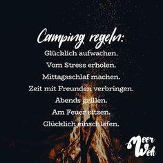 Visual Statements®️ Camping Regeln Sprüche / Zitate / Quotes / Meerweh / reisen / Fernweh / Wanderlust / Abenteuer / Strand / fliegen / Roadtrip