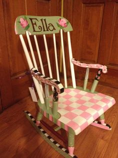 Hand painted childrens rocking chairs incredible whimsical furniture chair with 5 Painted Rocking Chairs, Hand Painted Chairs, Whimsical Painted Furniture, Hand Painted Furniture, Funky Furniture, Colorful Furniture, Paint Furniture, Repurposed Furniture, Kids Furniture
