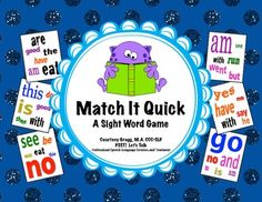 Sight Word Game - Match It Quick. Card game to practice Dolch sight words!  (Played like Spot It) Perfect for centers.
