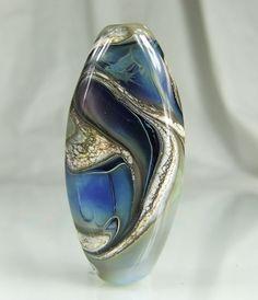 Blue Silvered Ivory Organic Lampwork Focal Bead   skyvalleybeads