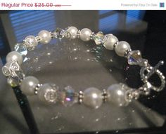 Pearl, silver, and Swarovski AB crystals bracelet - bride/bridesmaids/gift