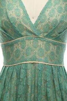 light sage over ivory lace v-neck dress