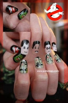 Nerdy Nail Designs: 30 Awesome Manis for Geek Goddesses - model. Funky Nails, Cute Nails, Nail Polish Art, Nail Art, Cute Nail Designs, Awesome Designs, Ghostbusters, Weird And Wonderful, Gorgeous Hair
