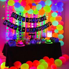 neon glow in the dark birthday party decor ideas ideaYou can find Glow party and more on our website.neon glow in the dark birthday party decor ideas idea 13th Birthday Parties, Birthday Party For Teens, 21st Birthday Themes, Dance Party Birthday, Colorful Birthday Party, Cool Birthday Ideas, 13th Birthday Party Ideas For Teens, Crazy Birthday, Glow Party Decorations